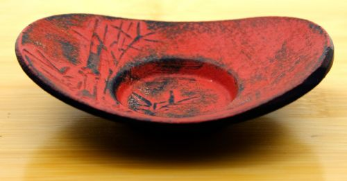 Bamboo dark red coaster for Cast Iron cup  10.5cm